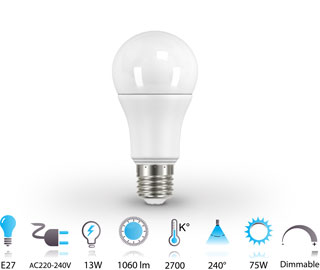 AMPOULE LED E27 13W Dimmable Aluminium