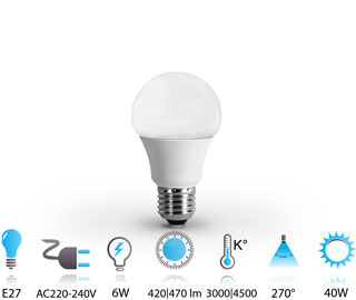 6w ampoule led e27 nano-technologie 220v chaud-neutre